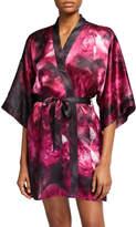 Samantha Chang Floral-Print Classic Short Kimono Robe