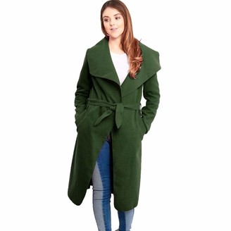 justyouroutfit Womens Duster Coat Ladies Waterfall Cardigan Belted Coat One Size Fits UK 8-14 (Khaki)