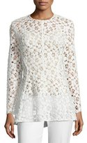 Lela Rose Long-Sleeve Embroidered-Lace Peplum Blouse, White