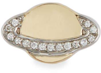 Sydney Evan 14k Small Saturn Stud Earring w/ Diamonds