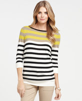 Ann Taylor Multicolored Stripe Button 3/4 Sleeve Tunic