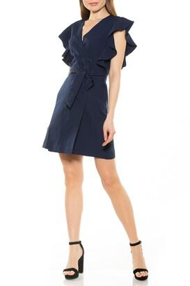 Alexia Admor Ada Ruffle Sleeve Waist Tie Wrap Dress