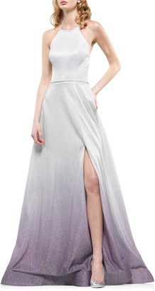 Colors Dress Ombre Glitter Halter Neck Gown