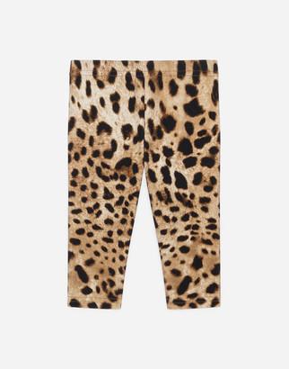 Dolce & Gabbana Interlock Leggings With Leopard Print