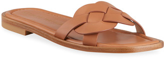 Stuart Weitzman Sierra Woven Leather Flat Sandals