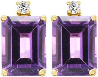 14K Emerald-Cut Gemstone & Diamond Accent Earrings