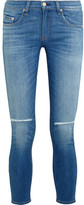 Rag & Bone The Capri Cropped Distressed Low-rise Skinny Jeans - Mid denim