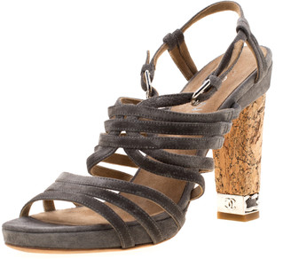 Chanel Grey Suede Chain Embellished Cork Heel Strappy Sandals Size 39