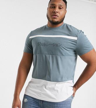 Asos DESIGN Plus organic cotton color block t-shirt with chest print