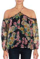 Ella Moss Floral Print Silk Off-The-Shoulder Blouse