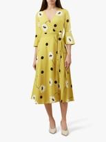 Hobbs Jeanne Wrap Style Dress, Yellow/Black