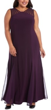 R & M Richards Plus Size Mesh-Inset Gown