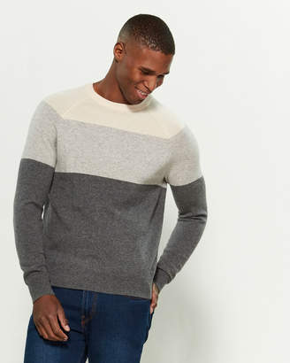 Amicale Color Block Cashmere Long Sleeve Sweater