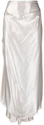 A.W.A.K.E. Mode Asymmetric Satin Maxi Skirt