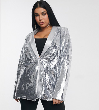Unique21 Hero Unique 21 sequin blazer in silver