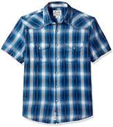 Lucky Brand Men's Short Sleeve Santa Fe Western Shirt in Blue Plaid