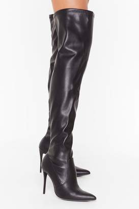 Nasty Gal Womens What's Your Point Faux Leather Thigh-High Boots - black - 6
