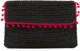 San Diego Hat Company Flap Pompom Rectangular Clutch, Black