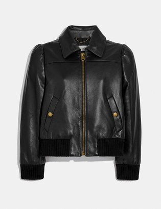 Coach Leather Tailored Bomber Jacket