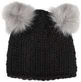 Barneys New York WOMEN'S DOUBLE POM-POM KNIT HAT-BLACK