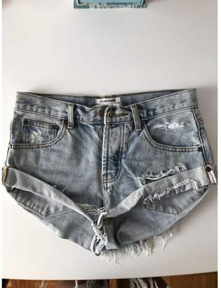 One Teaspoon Turquoise Cotton Shorts for Women