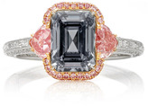 Martin Katz Fancy Dark Gray Emerald Cut Diamond Ring