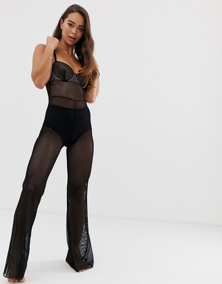 Asos Design DESIGN Saesha long fishnet underwire bodysuit-Black