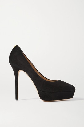 Jimmy Choo Jenara 125 Suede Platform Pumps - Black
