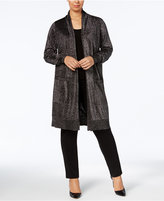 MICHAEL Michael Kors Size Metallic-Knit Duster Cardigan