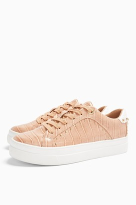 Topshop Womens Cyrus Dusty Pink Studded Trainers - Multi