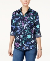 Karen Scott Petite Cotton Floral-Print Shirt, Created for Macy's