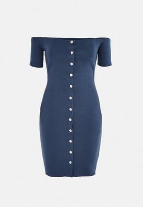 Missguided Grey Rib Bardot Popper Mini Dress