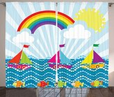 Cartoon Decor Curtains by Ambesonne, Landscape with Sailing Boat in Sea Fish Rainbow and Fluffy Clouds Kids Nursery Art, Living Room Bedroom Window Drapes 2 Panel Set, 108W X 63L Inches, Multi