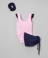 Sweet & Soft Pink Polka Dot Angel-Sleeve One-Piece Set - Infant & Kids