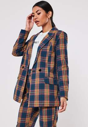Missguided Navy Co Ord Check Oversized Long Blazer