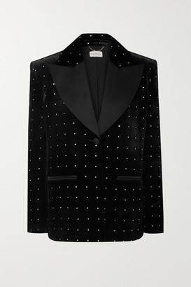 Magda Butrym Amsterdam Silk-satin Trimmed Crystal-embellished Velvet Blazer - Black