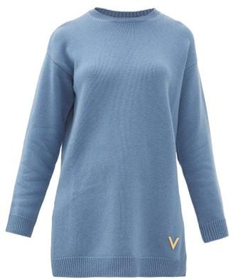 Valentino Oversized Split-hem Cashmere Sweater - Womens - Blue