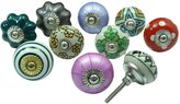 Ibacrafts Lot Of 10 Pcs Multicolor Ceramic Drawer Pull Decorative Knobs Cabinet Hardware