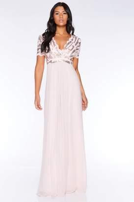Quiz Nude Sequin Scallop Cap Sleeve Maxi Dress