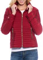 Red Contrast-Trim Zip-Up Puffer Coat