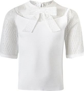 River Island Girls White mesh puff sleeve bow ribbed top