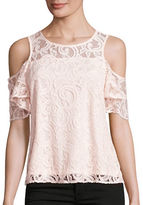 Design Lab Lord & Taylor Lace Cold-Shoulder Top