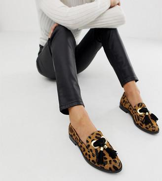 Asos Design DESIGN Mimic leather loafer flat shoes in leopard print-Multi