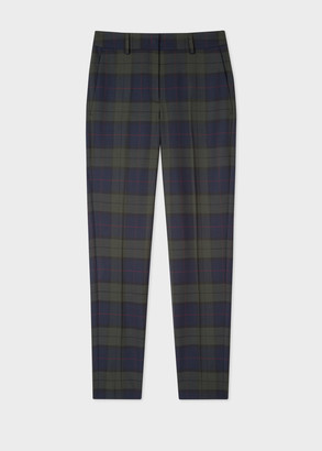 Paul Smith Women's Classic-Fit Navy Tartan Check Wool-Blend Trousers