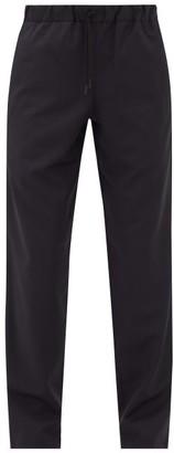 A.P.C. Kaplan Drawstring-waist Wool-herringbone Trousers - Navy