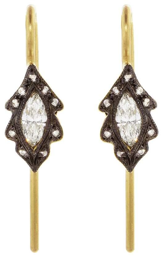 Cathy Waterman Diamond Marquise Leaf Earrings - Yellow Gold