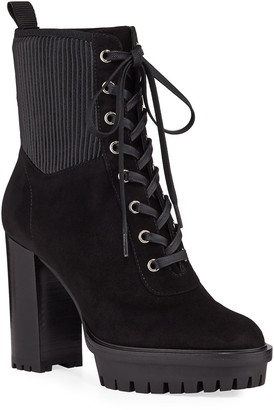 Gianvito Rossi Suede Stretch Platform Hiker Booties
