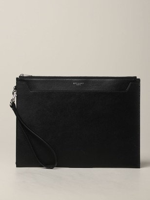 Saint Laurent Leather Clutch Bag With Laminated Logo