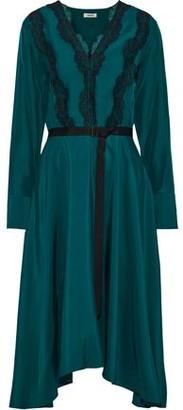 Jason Wu Grey Asymmetric Lace-trimmed Washed-silk Dress