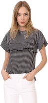 Whistles Stripe Frill Yoke Tee
